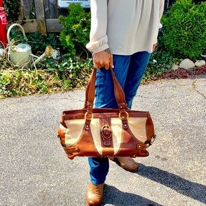 Distressed cognac leather & woven fabric satchel